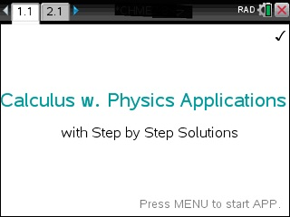 Calculus with Physics Applications - Tinspire CX - Step by