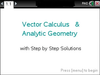 Vector Calculus Made Easy - Tinspire CX - Step by Step